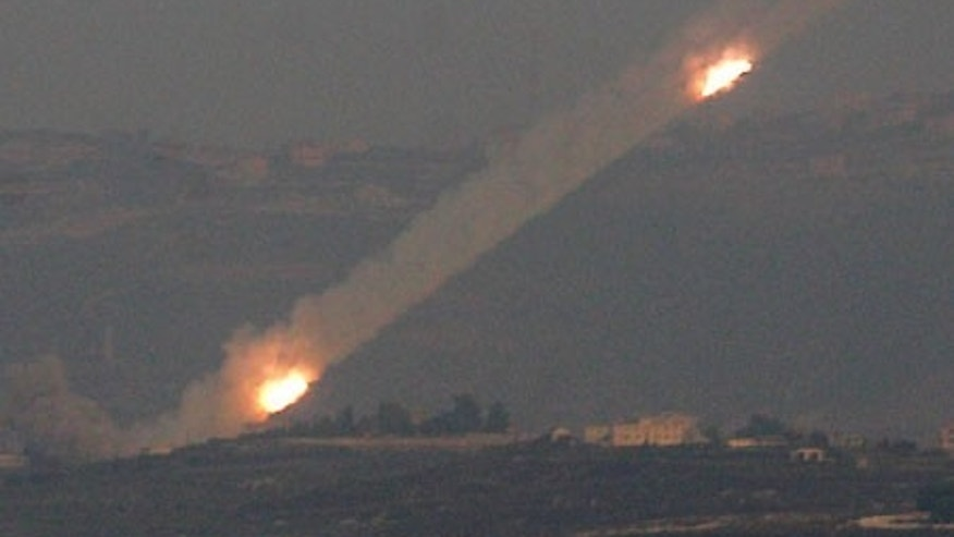 Hezbollah rockets stream toward Israel in an August 2006 file photo.