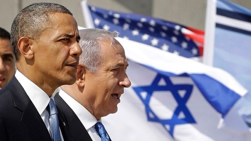 March 20, 2013: President Obama and Israeli Prime Minister Benjamin Netanyahu tour the Iron Dome Battery defense system, at Ben Gurion International Airport in Tel Aviv, Israel.
