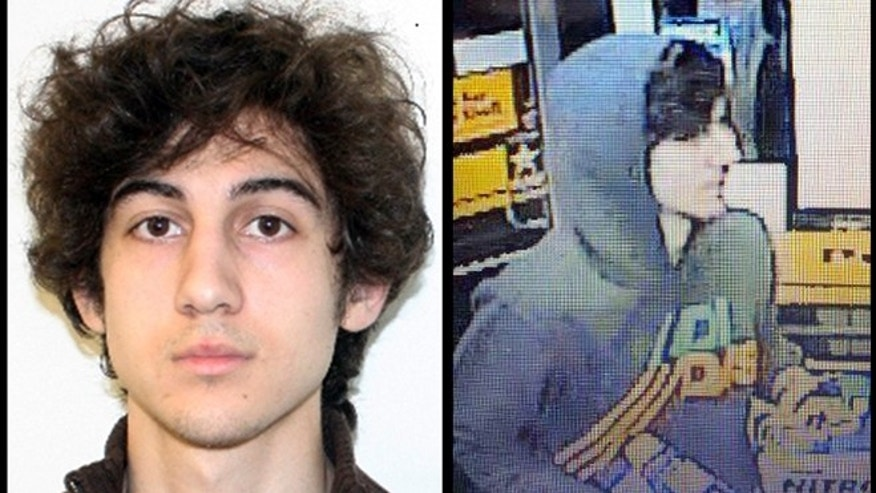 This combination of photos provided on Friday, April 19, 2013 by the Federal Bureau of Investigation, left, and the Boston Regional Intelligence Center, right, shows Dzhokhar Tsarnaev. (AP Photo/FBI, BRIC)