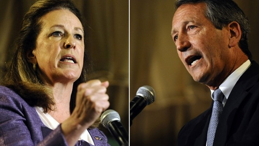 April 29, 2013: Democratic candidate Elizabeth Colbert Busch and Republican Mark Sanford debate in South Carolina.