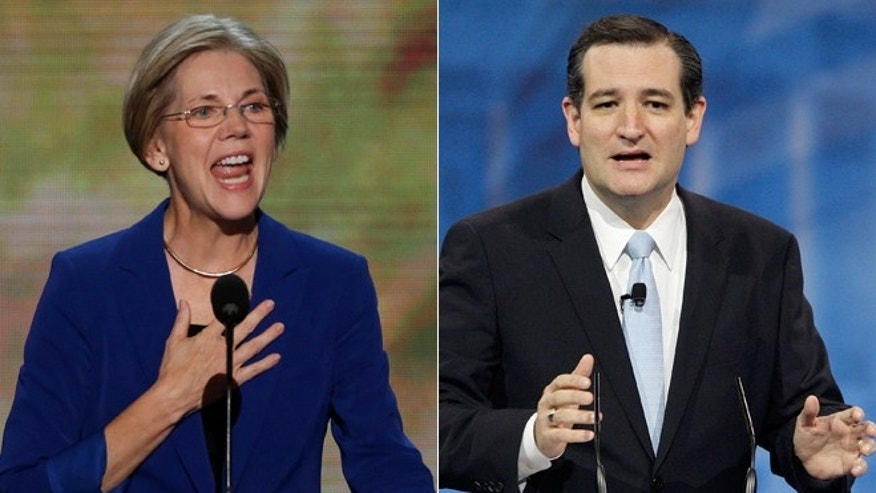 Democratic Massachusetts Sen. Elizabeth Warren, left, and Republican Texas Sen. Ted Cruz, right.
