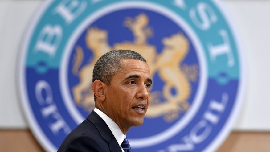 US President Barack Obama speaks during an event on June 17, 2013 in Belfast, Northern Ireland. He told the people of Northern Ireland that they must respond with bravery whenever their hard-won peace fashioned after years of violence comes under attack.