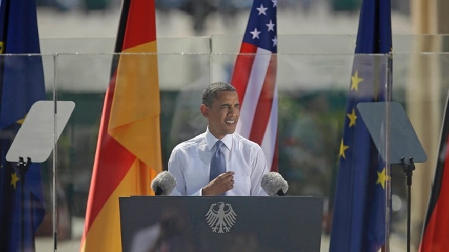 June 19, 2013: President Obama speaks in front of the iconic Brandenburg Gate in Berlin, Germany.