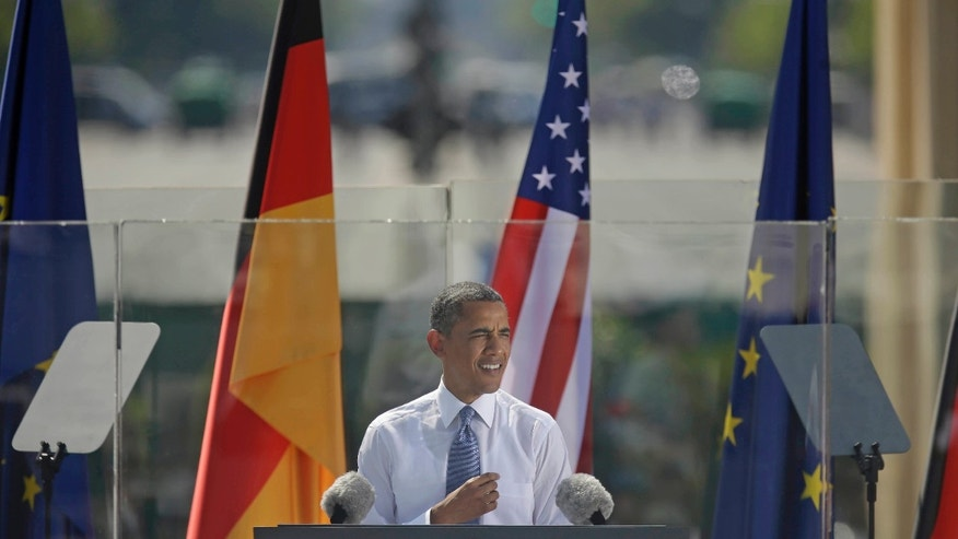 "President Barack Obama speaks in front of the iconic Brandenburg Gate in Berlin Germany, Wednesday, June 19, 2013. Obama is planning a major push using executive powers to tackle the pollution blamed for global warming in an effort to make good on promises he made at the start of his second term. ""We know we have to do more  and we will do more,"" Obama said in Berlin. (AP Photo/Pablo Martinez Monsivais)"