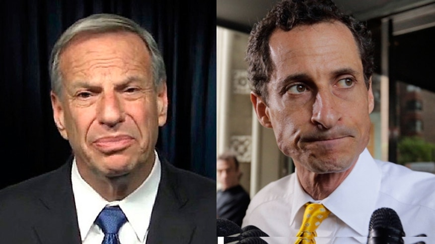 San Diego Mayor Bob Filner (left) and New York City mayoral candidate Anthony Weiner (right).