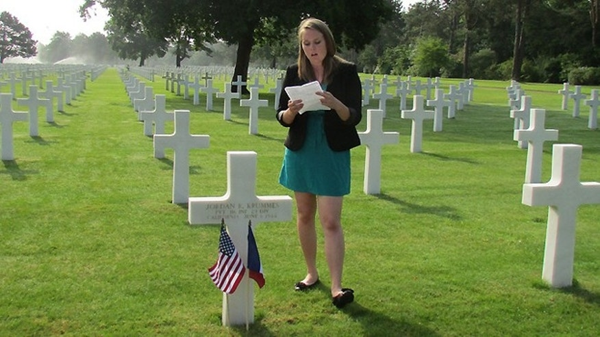 Natalie McDonald, a 17-year-old from San Pedro, Calif., offers a eulogy for a fallen soldier who died during the Normandy invasion.