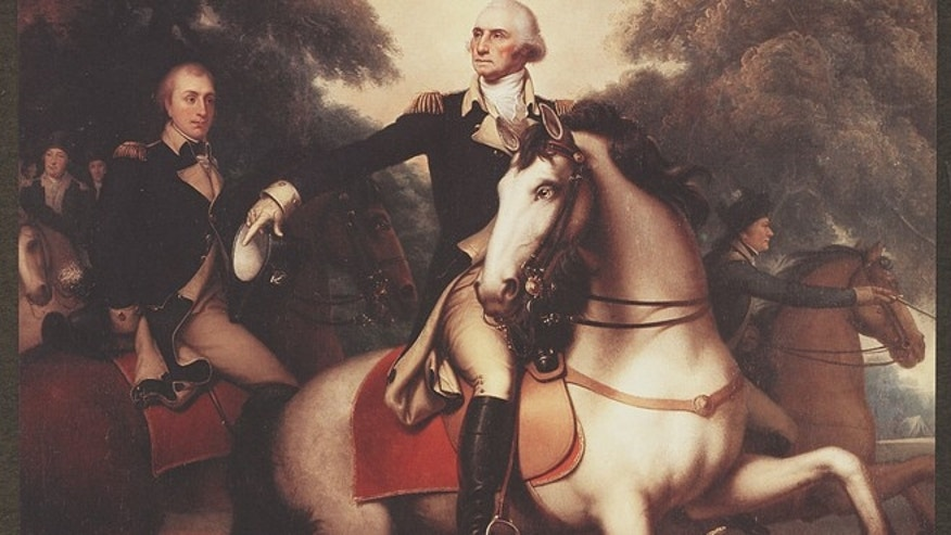 Reproduction shows George Washington, full-length portrait, in full dress uniform on horseback preparing his troops for the final battle of the Revolutionary War in Yorktown, Virginia.