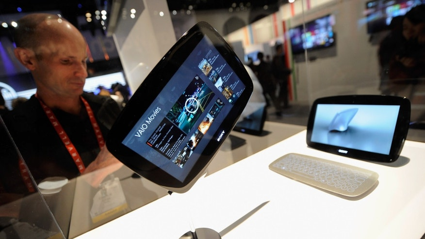 LAS VEGAS, NV - JANUARY 11:  A prototype Sony Viao is on display at the Sony booth during the 2012 International Consumer Electronics Show at the Las Vegas Convention Center on January 11, 2012 in Las Vegas, Nevada. CES, the world's largest annual consumer technology trade show, runs through January 13 and features more than 3,100 exhibitors showing off their latest products and services to about 140,000 attendees.  (Photo by Kevork Djansezian/Getty Images)