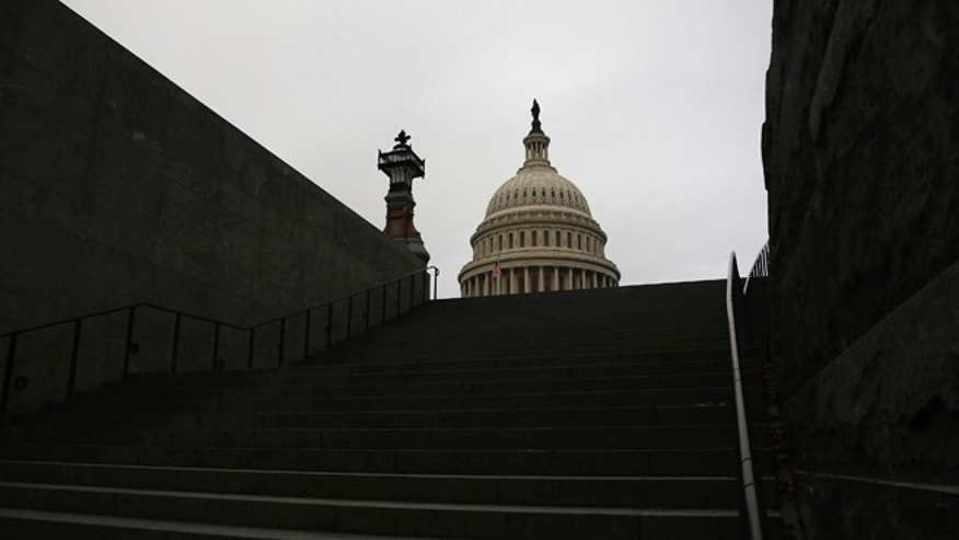 Overcast skies cover the U.S. Capitol in Washington.