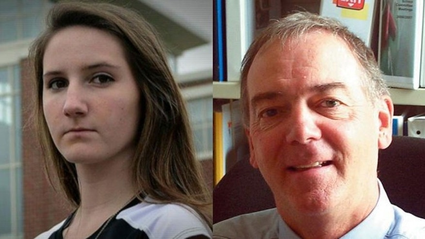North Andover High School student Erin Cox (left) and North Andover School superintedent Kevin Hutchinson (right). File photo taken in August of 2007 when he was the Asst. Superintendent.