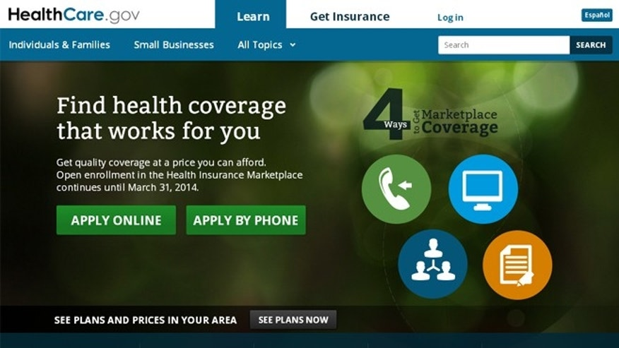 The home page of Healthcare.gov.