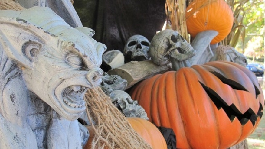 A Halloween display greets visitors to Philipsburg Manor in Sleepy Hollow, N.Y.