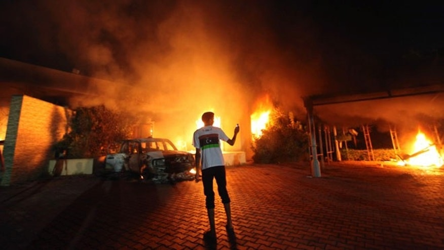 The U.S. Consulate in Benghazi in flames September 11, 2012.