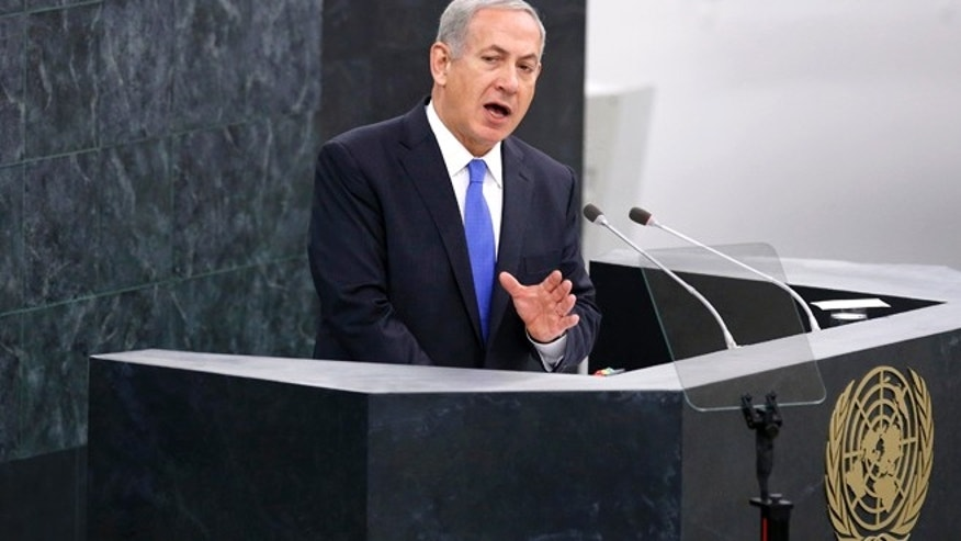 Benjamin Netanyahu, prime minister of Israel, addresses the 68th United Nations General Assembly at the U.N. headquarters in New York, October 1, 2013.
