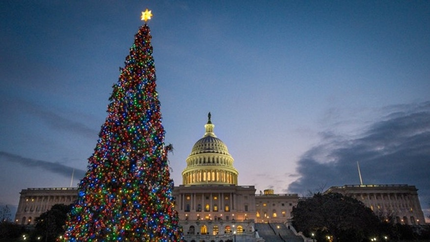 Dec. 4, 2013: The U.S. Capitol Christmas tree is lit against the early morning sky in Washington.