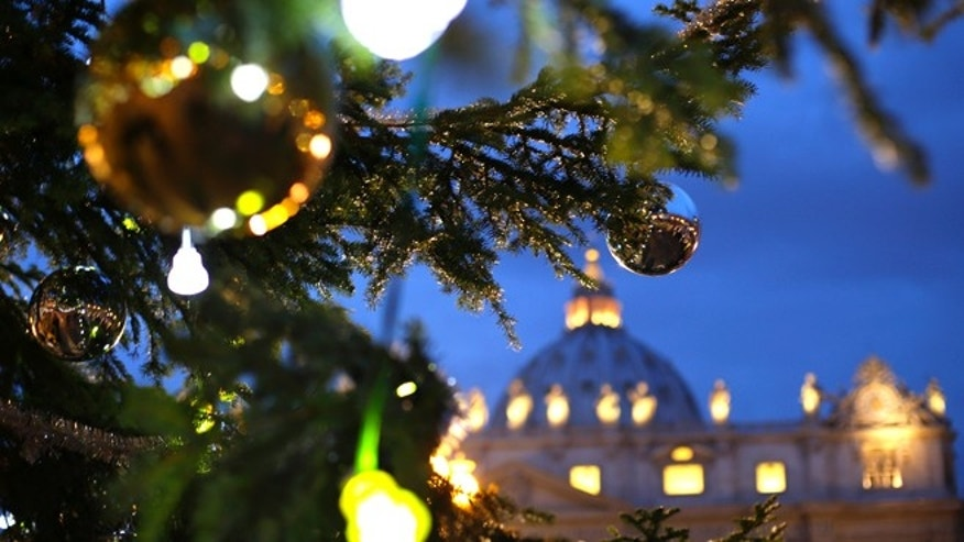 The Vatican Christmas tree is lit up after a ceremony in Saint Peter&#39&#x3b;s Square at the Vatican December 14, 2012.