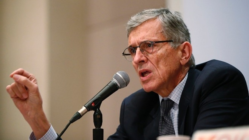 Jan. 9, 2014: Federal Communications Commission (FCC) Chairman Thomas Wheeler speaks during a Town Hall meeting in Oakland, California.