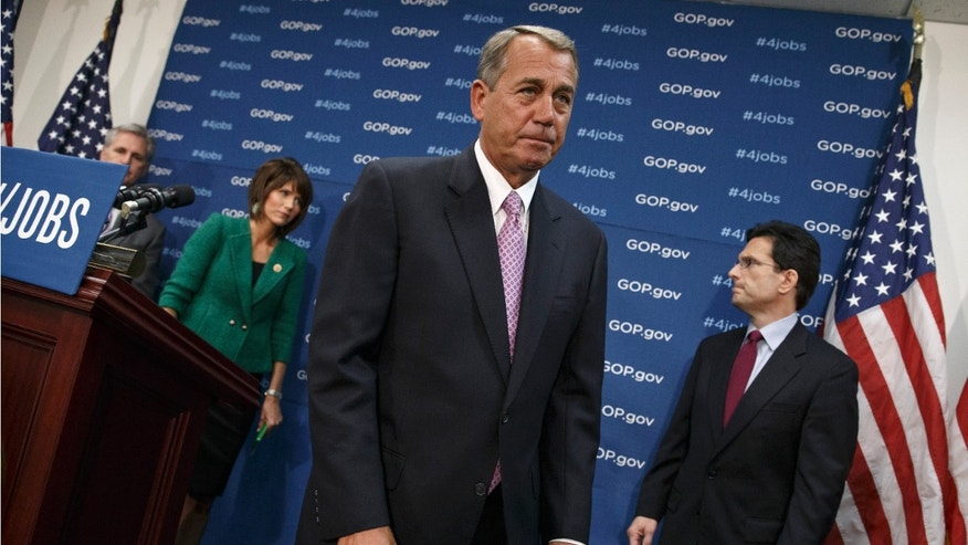 FILE -- Jan. 14, 2014: House Speaker John Boehner of Ohio and GOP leaders finish a news conference on Capitol Hill in Washington following a weekly House Republican Conference meeting. From left are, House Majority Whip Kevin McCarthy of Calif., Rep. Kristi Noem, (R-S.D.), and House Majority Leader Eric Cantor of Va.