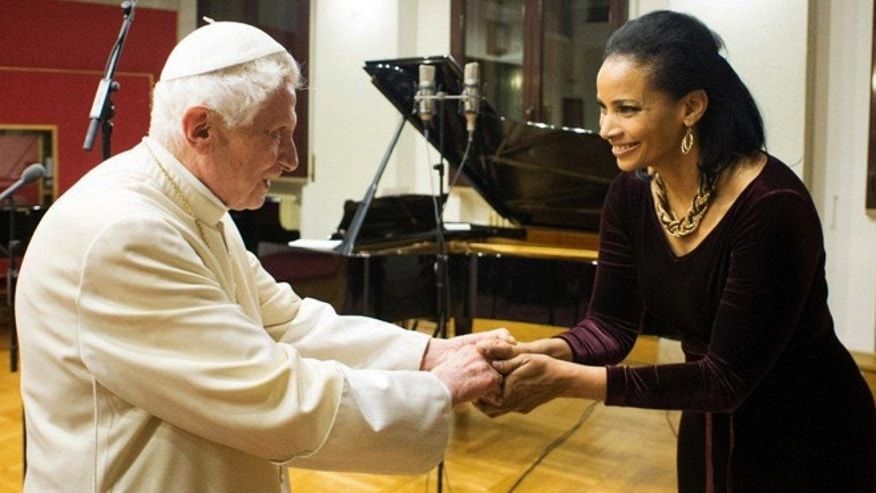 January 15, 2014: Lauren Green greets Pope Emeritus Benedict at the Vatican.