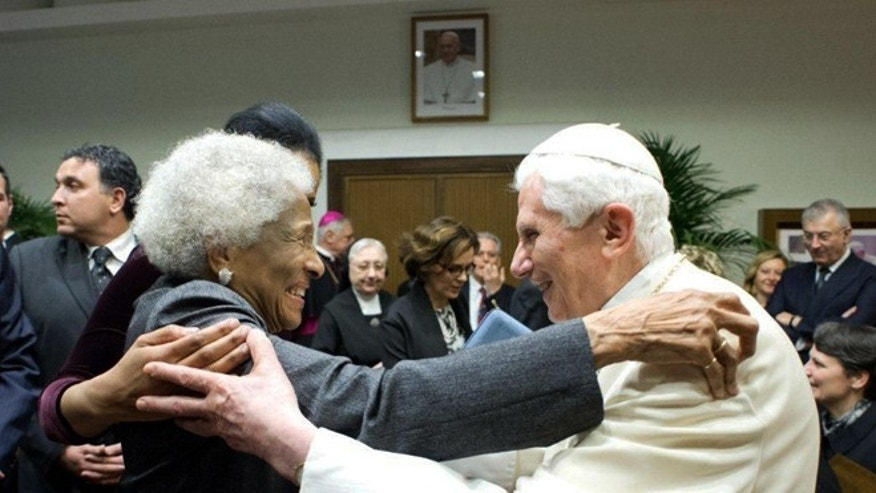 January 15, 2014: Lauren Green's mother embraces Pope Emeritus Benedict