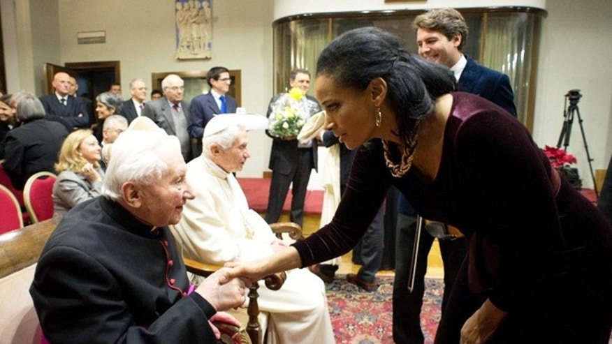January 15, 2014: Lauren Green greets Msg. Georg Ratzinger, brother of Pope Emeritus Benedict, at the Vatican.