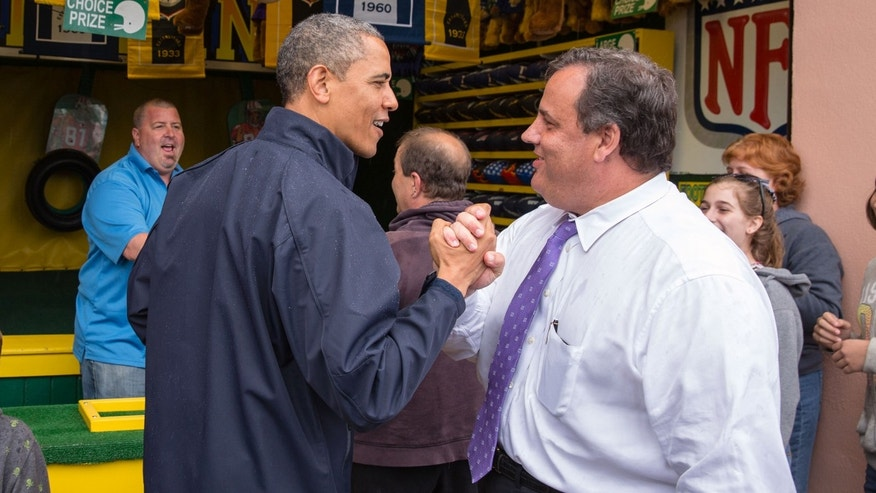 President Obama congratulates Governor Christie on May 28, 2013 in Point Pleasant Beach, New Jersey.