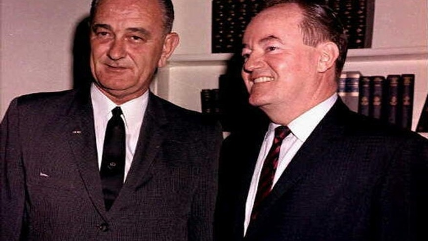 Lyndon B. Johnson, as US President, with Hubert H. Humphrey, as US Vice President.
