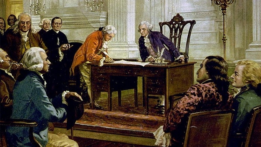 A reproduction of a painting of George Washington, Benjamin Franklin and others signing the U.S. Constitution in Philadelphia, Pennsylvania.