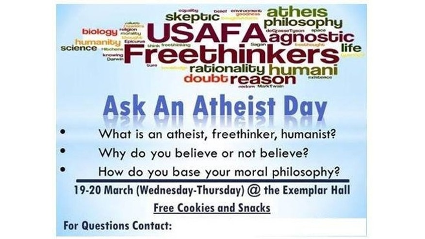 Flyer distributed at the Air Force Academy promoting Ask an Atheist Day.