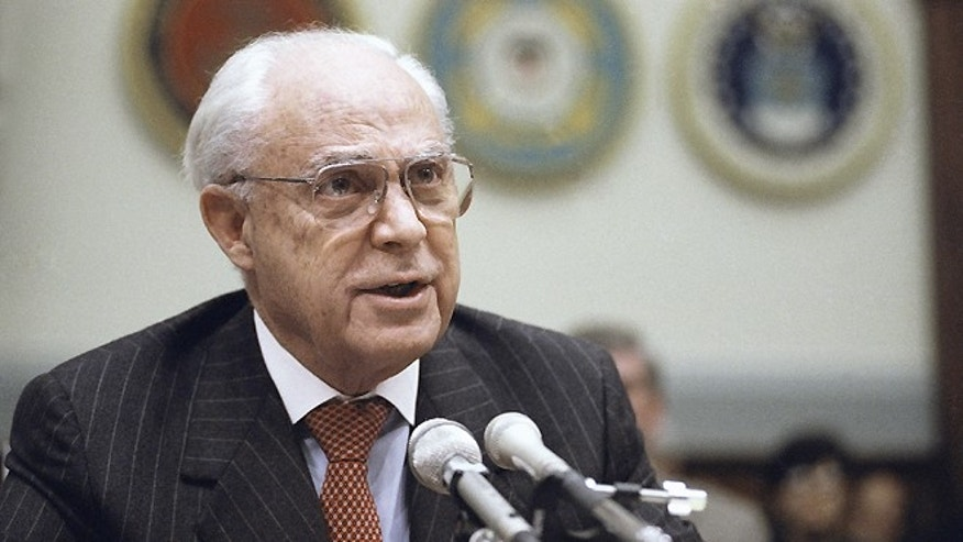 FILE - In this Dec. 11, 1991, file photo, Robert Strauss, U.S. Ambassador to the Soviet Union testifies on Capitol Hill in Washington, before the House Armed Service Committee. Strauss, a former chairman of the Democratic Party and an ambassador to the Soviet Union, has died. Strauss' law firm confirmed his death Wednesday, March 19, 2014, at age 95.