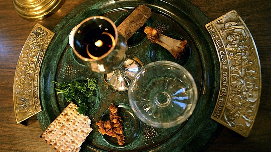 A traditional Passover seder plate is seen at Congregation Beth El in Tyler, Texas. The foods on the plate are symbols, and help tell the story of the exodus of the Jewish people from Egypt as told in the old Testament of the Bible.