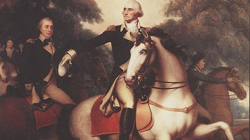 This reproduction shows George Washington in full dress uniform on horseback preparing his troops for the final battle of the Revolutionary War in Yorktown, Virginia.