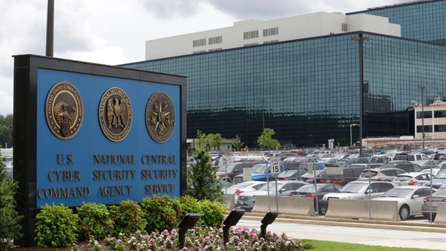 A sign outside the National Security Agency (NSA) campus in Fort Meade, Md.