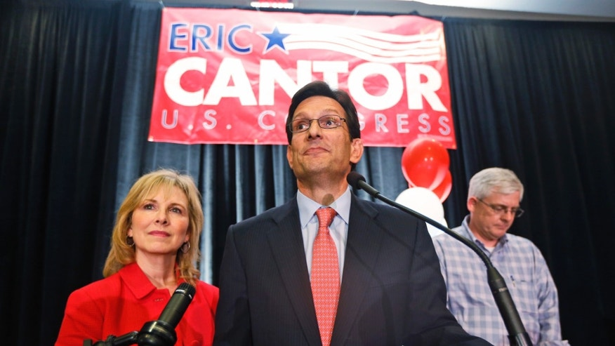 June 10, 2014: House Majority Leader Eric Cantor, R-Va., delivers his concession speech as his wife, Diana, listens in Richmond, Va.