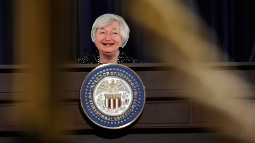 FILE -- June 18, 2014: Federal Reserve Chairwoman Janet Yellen speaks during a news conference at the Federal Reserve in Washington.