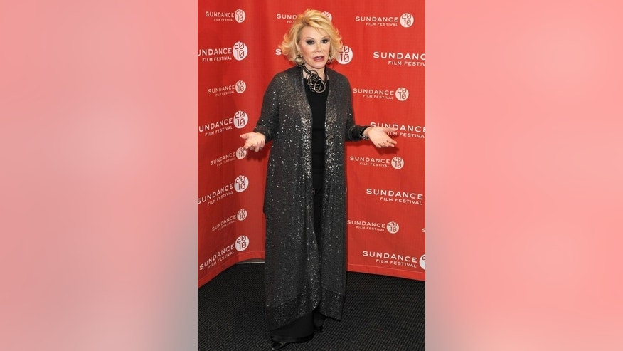 "Comedian Joan Rivers arrives for the premiere of the documentary ""Joan Rivers - A Piece Of Work"" during the 2010 Sundance Film Festival in Park City, Utah January 25, 2010.  REUTERS/Lucas Jackson (UNITED STATES - Tags: ENTERTAINMENT)"