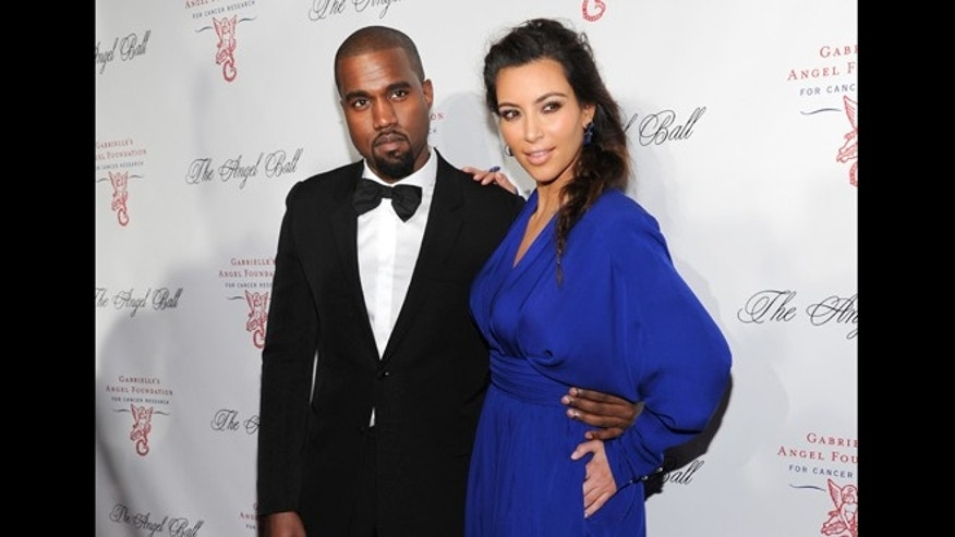 Oct. 22, 2012: In this file photo, Kanye West and Kim Kardashian attend Gabrielle's Angel Foundation 2012 Angel Ball cancer research benefit at Cipriani Wall Street in New York.