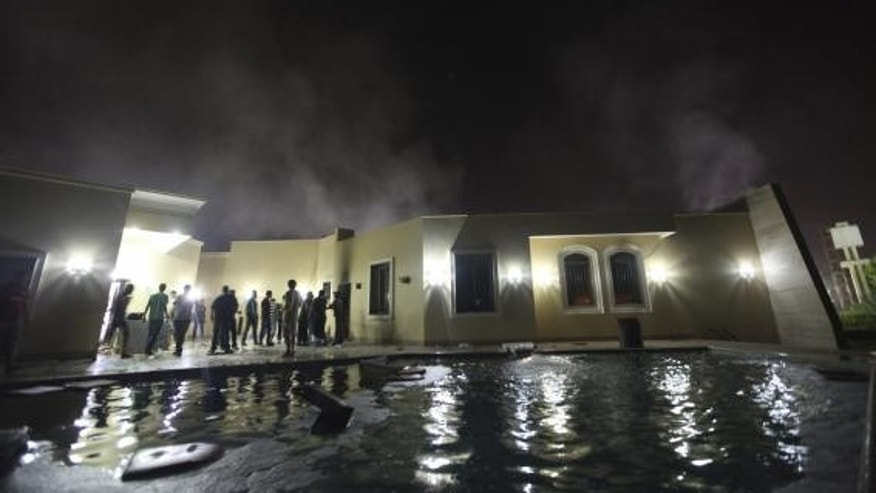 Damage at the U.S. Consulate in Benghazi is seen during a protest by an armed group said to have been protesting a film being produced in the United States in this September 11, 2012 file photo. REUTERS/Esam Al-Fetori/Files