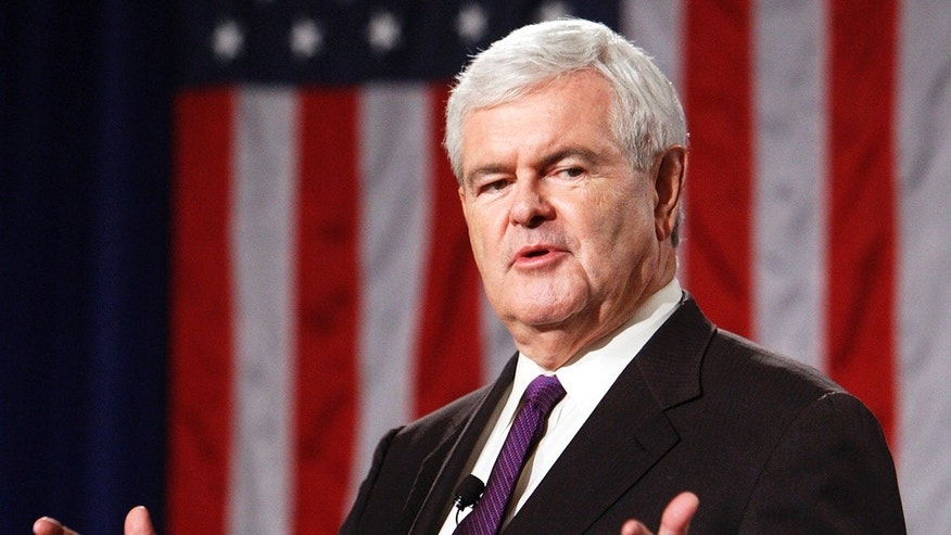Newt Gingrich speaking during an American Solutions rally in Las Vegas.