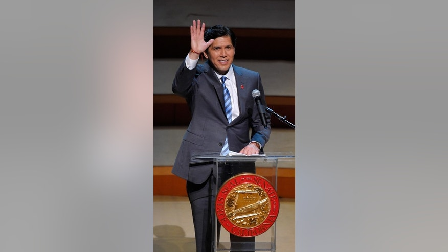 Oct. 15, 2014: Democratic Sen. Kevin de Leon, the 47th President pro Tempore of the California State Senate, speaks to supporters after being sworn in Los Angeles. Two-thousand guests were invited to the expensive soiree to celebrate the swearing-in of the first Latino to head the California Senate in more than a century.
