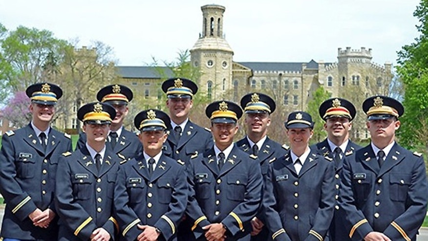 Members of Wheaton College's Rolling Thunder Battalion