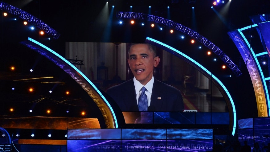 U.S. President Barack Obama before the start of the Latin GRAMMY Awards in Las Vegas, Nevada.