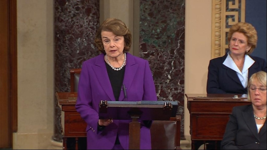 Dec. 9, 2014: This frame grab from video, provided by Senate Television, shows Senate Intelligence Committee Chair Sen. Dianne Feinstein, D-Calif. speaking on the floor of the Senate on Capitol Hill in Washington. Sen. Debbie Stabenow, D-Mich. is at center, Sen. Patty Murray, D-Wash. is at right.