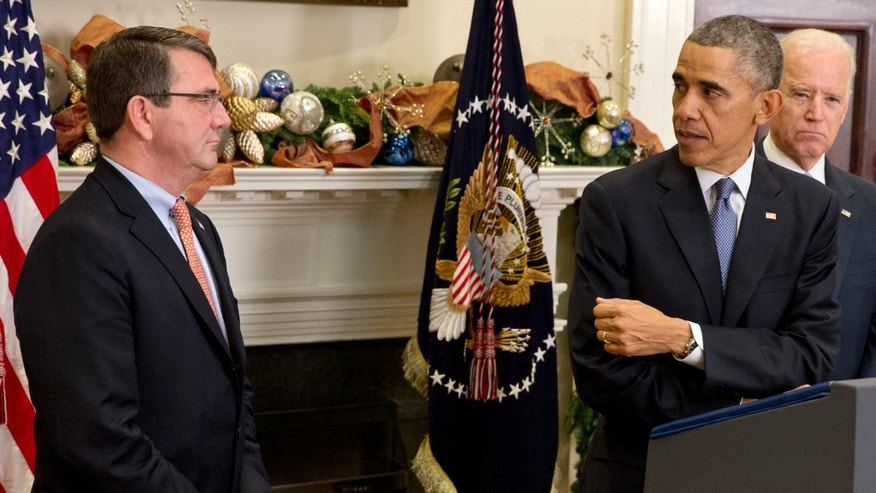 President Obama and Ashton Carter, his nominee for defense secretary, Friday, Dec. 5, 2014.