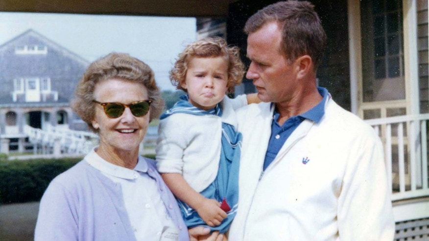 "1962: Dorothy Walker Bush, ""Doro"" Bush, and George Bush in Kennebunkport, Maine."