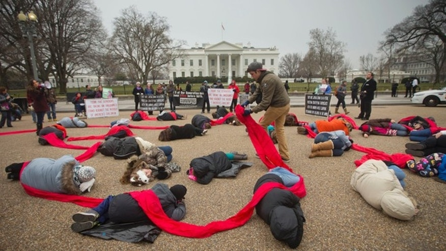 Anti-abortion rights activists protest in front of the White House in Washington, Jan. 21, 2015.