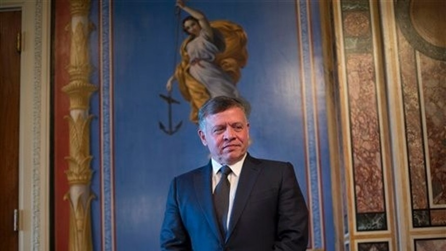 Jordan's King Abdullah is seen waiting before his meeting with Senate Appropriations members in the Capitol Building in Washington, Tuesday, Feb. 3, 2015.  (AP Photo/Pablo Martinez Monsivais)