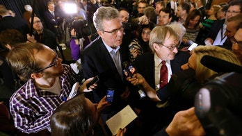 Former Florida Gov. Jeb Bush speaks to members of the media during a reception for U.S. Rep. David Young, R-Iowa, Friday, March 6, 2015, in Urbandale, Iowa. (AP Photo/Charlie Neibergall)