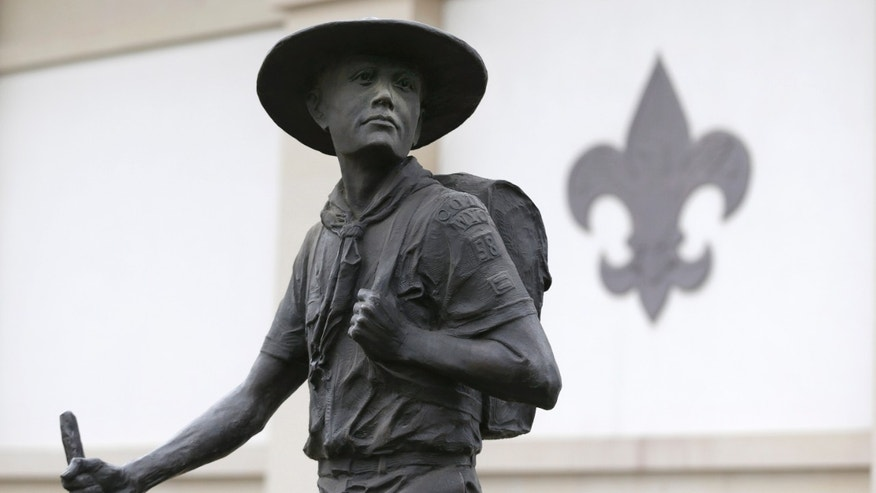 FILE -- Jan. 28, 2013: A statue of a Boy Scout stands in front of the National Scouting Museum in Irving, Texas. (AP)