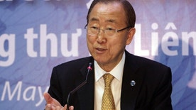 May 23, 2015: U.N. Secretary-General Ban Ki-moon speaks to reporters in Hanoi, Vietnam.